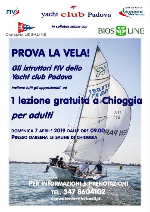 """Domenica 7 aprile """"Prova la vela"""" con lo YC Padova"""